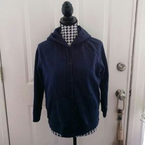J. Crew Blue Terry Button Down Hoody/Jacket